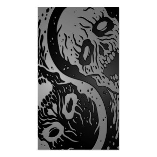 Grey and Black Yin Yang Zombies Business Card Templates