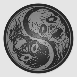 Grey and Black Yin Yang Zombies Classic Round Sticker