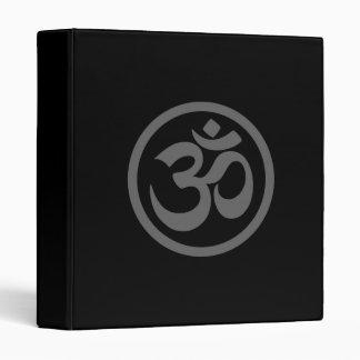 Grey and Black Yoga Om Circle Vinyl Binder