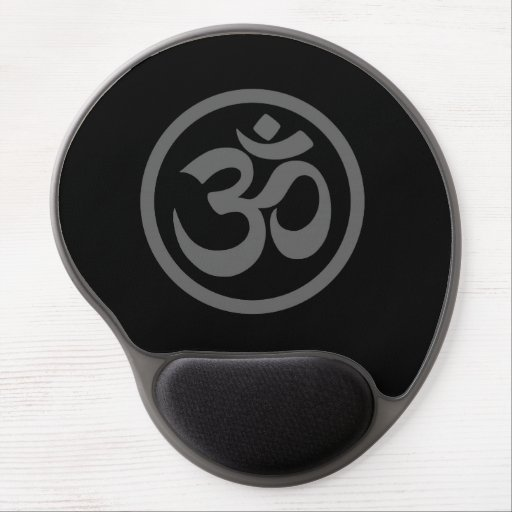 Grey and Black Yoga Om Circle Gel Mouse Mat