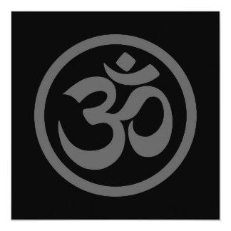 Grey and Black Yoga Om Circle 5.25x5.25 Square Paper Invitation Card