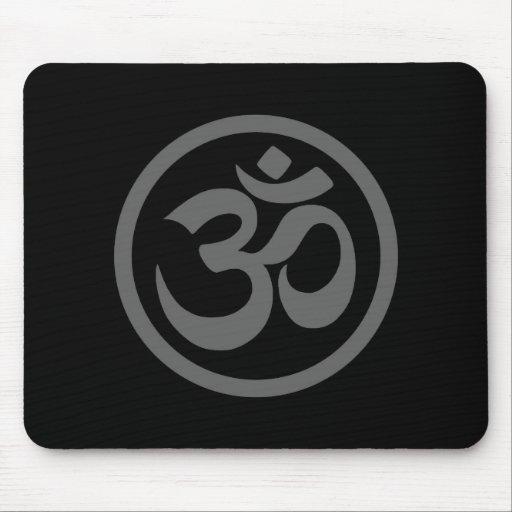 Grey and Black Yoga Om Circle Mousepad