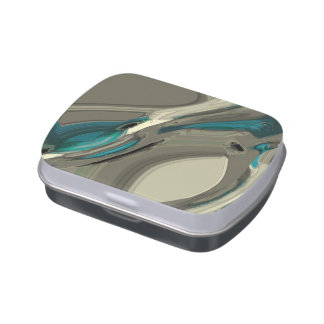 Grey and Blue Abstract Art Jelly Belly Tin