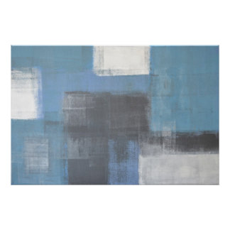 Grey and Blue Abstract Art Poster Print