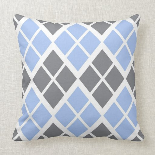 grey and blue argyle throw pillow zazzle. Black Bedroom Furniture Sets. Home Design Ideas