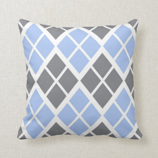 Grey and Blue Argyle Throw Pillow