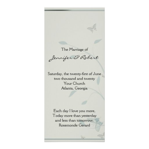 Grey and Blue Butterfly Meadow Wedding Program Rack Cards