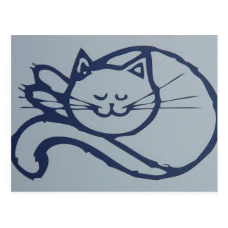 Grey and Blue Cat Napping Postcard