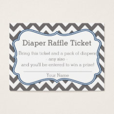 Grey And Blue Chevron Diaper Raffle Ticket at Zazzle