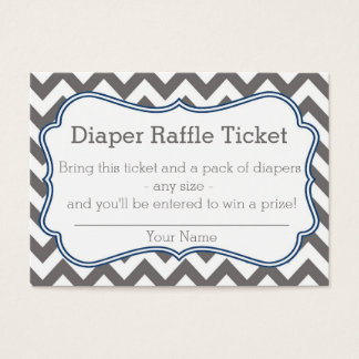 Grey and Blue Chevron Diaper Raffle Ticket