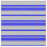 [ Thumbnail: Grey and Blue Colored Pattern of Stripes Fabric ]