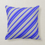 [ Thumbnail: Grey and Blue Colored Pattern of Stripes Pillow ]