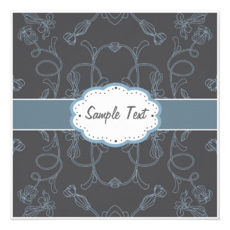 Grey and Blue Floral Custom Announcement
