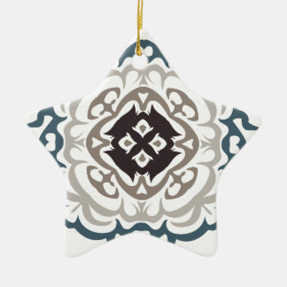Grey and Blue Ornate Flourish Damask Pattern Double-Sided Star Ceramic Christmas Ornament