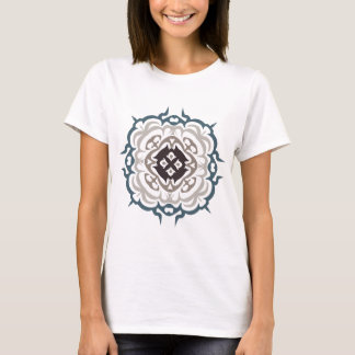 Grey and Blue Ornate Flourish Damask Pattern T-Shirt