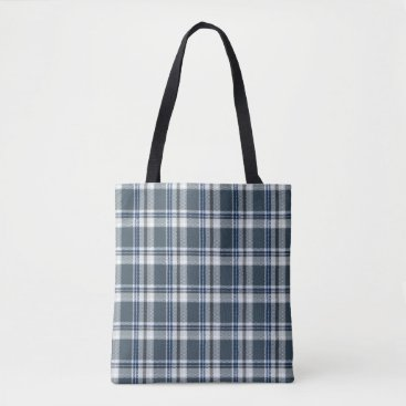 Aztec Themed Grey and blue tartan tote bag