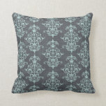 Grey and Blue Vintage Damask (3).jpg Pillows