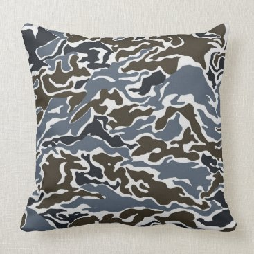 Grey and Brown Camo Throw Pillow