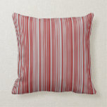 [ Thumbnail: Grey and Brown Colored Striped Pattern Pillow ]