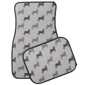 Grey and Brown Horses Floor Mat