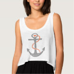 Grey and coral anchor & heart nautical flowy crop tank top