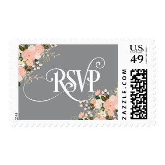 Grey and Coral Pink, Peach, Floral - RSVP stamp