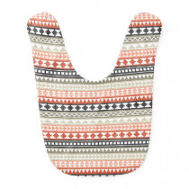 Grey and Coral Tribal Aztec Pattern Bib