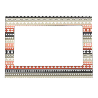 Grey and Coral Tribal Aztec Pattern Magnetic Photo Frame