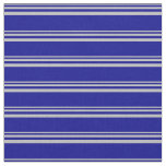 [ Thumbnail: Grey and Dark Blue Lines/Stripes Pattern Fabric ]