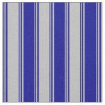 [ Thumbnail: Grey and Dark Blue Striped Pattern Fabric ]