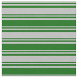 [ Thumbnail: Grey and Dark Green Lined Pattern Fabric ]