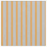 [ Thumbnail: Grey and Dark Orange Striped/Lined Pattern Fabric ]