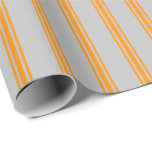 [ Thumbnail: Grey and Dark Orange Striped/Lined Pattern Wrapping Paper ]