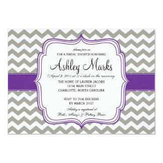 Grey and Dark Purple Cheveron Invitaiton 5x7 Paper Invitation Card