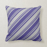 [ Thumbnail: Grey and Dark Slate Blue Pattern of Stripes Pillow ]