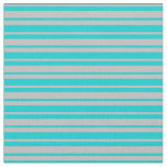 [ Thumbnail: Grey and Dark Turquoise Stripes/Lines Pattern Fabric ]