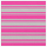 [ Thumbnail: Grey and Deep Pink Colored Lines Fabric ]