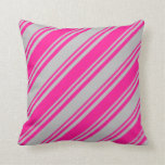 [ Thumbnail: Grey and Deep Pink Colored Lines Throw Pillow ]