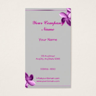 Grey and Eggplant Plumeria Business Card
