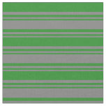 [ Thumbnail: Grey and Forest Green Stripes Fabric ]
