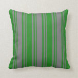 [ Thumbnail: Grey and Forest Green Stripes Throw Pillow ]