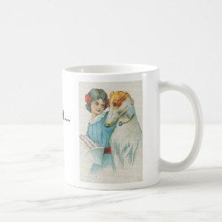 Grey and girl with music, I adopted a Greyhound... Classic White Coffee Mug
