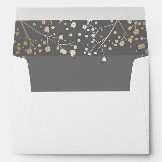 grey and gold baby's breath wedding envelope