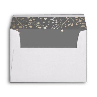 grey and gold baby's breath wedding envelope