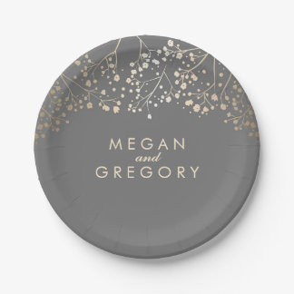 Grey and Gold Baby's Breath Wedding Paper Plate