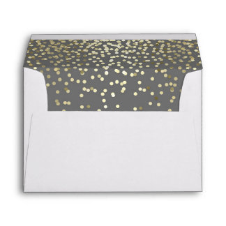 grey and gold glitter confetti wedding envelope