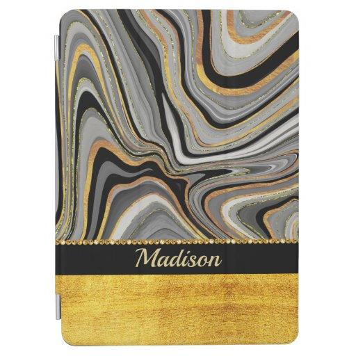 Grey and gold sensual swirls design iPad air cover