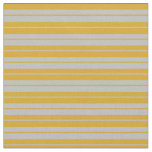 [ Thumbnail: Grey and Goldenrod Colored Striped Pattern Fabric ]
