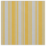 [ Thumbnail: Grey and Goldenrod Lines/Stripes Pattern Fabric ]