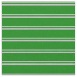 [ Thumbnail: Grey and Green Colored Lined/Striped Pattern Fabric ]